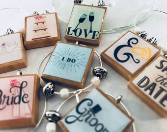 Wedding / Engagement Custom Scrabble Tile Wine Glass Charms