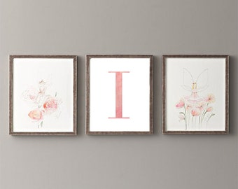 Letter I | Nursery Print | Nursery Art | Alphabet | Instant Download | Digital Print | Wall Art | Baby Girl | Initials | Pink | Watercolor
