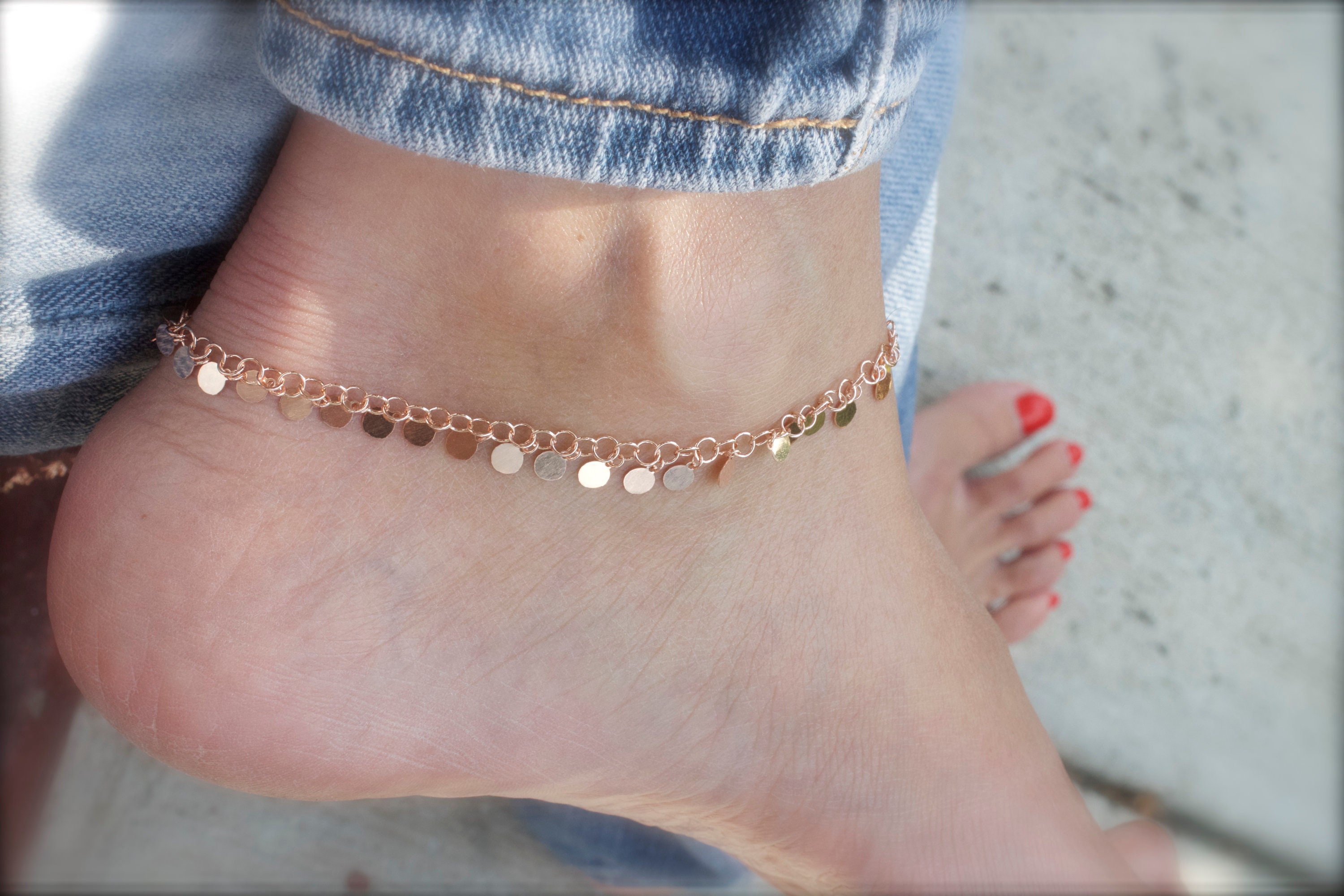 pin chain gold bicone crystal cable jewelry delebiu corrugated ab rose anklet solid