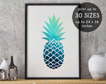 Blue pineapple print, blue, pineapple, print, home decor, art, wall art, blue prints, abstract print, printable wall art, blue pineapple, 80