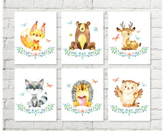 Woodland Nursery Decor Animals Fox Bear Deer Racoon Hedgehog Owl Print, Watercolor Printable Wall Art Boys Girls 8x10 11x14 Digital Download