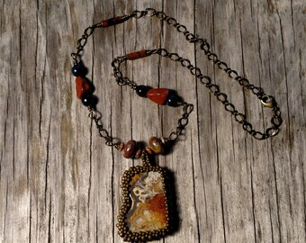 Beaded Agate Cabochon Necklace - Wire Wrapped Chain - Bead Weaving - Jasper - Lapis - BOHO