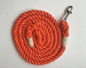 Ultra Soft Orange Cotton Rope Dog Leash