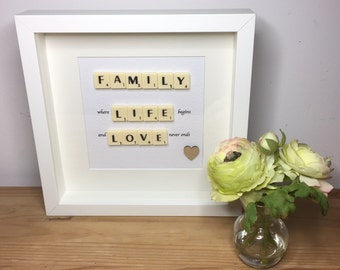 Scrabble wall art, Scrabble picture, Family life love,
