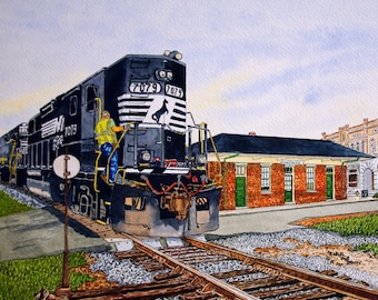 Norfolk Southern Train and Depot in Mooresville NC Print from the Original Watercolor by Michael Joe Moore