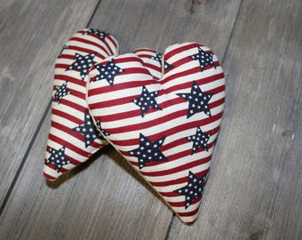 Patriotic Stars and Stripes Stuffed Hearts