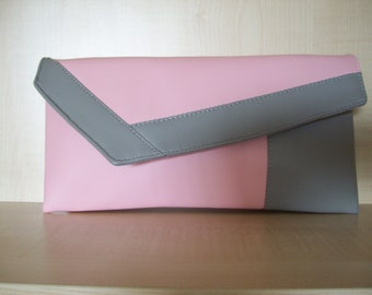 Light grey and light pink faux leather clutch bag