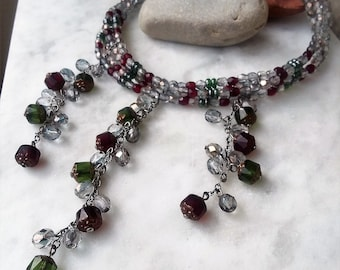 Smoky Gray Olive Green Ruby Red Glass Crystal Beaded Choker Necklace / Gray Red Green Choker Necklace Jewelry Jewellery Gift For Her