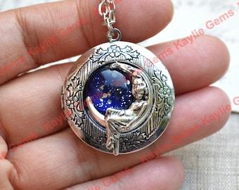 Mond Medaillon Anhänger Halskette Crescent verträumt Göttin Schmuck Lady Mädchen auf Mond Antik Silber