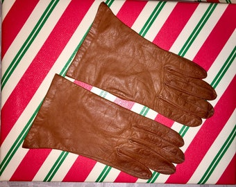 VINTAGE BONWIT TELLER Brown Leather Gloves Small