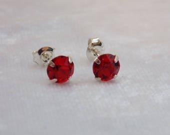 Sterling Silver and Swarovski Crystal Stud Earrings in Ruby Red