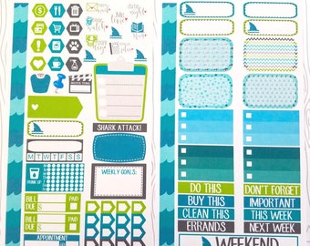 Shark Attack // Personal Planner Weekly Kit (Set of 63) Item #548