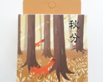 autumn forest fox washi tape, MT, masking tape, stationery supplies, washi tape, 15 mm x 7 m, scrapbooking,