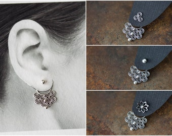 Bigger Artisan Handcrafted Silver Ear Jacket, sterling silver front and back earring, Unique interchangeable mix and match stud earrings