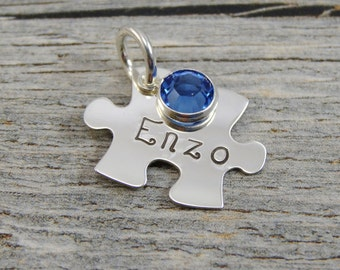 Hand Stamped Jewelry - Personalized Jewelry - Charm For Necklace - Sterling Silver Puzzle Piece - Name and Birthstone