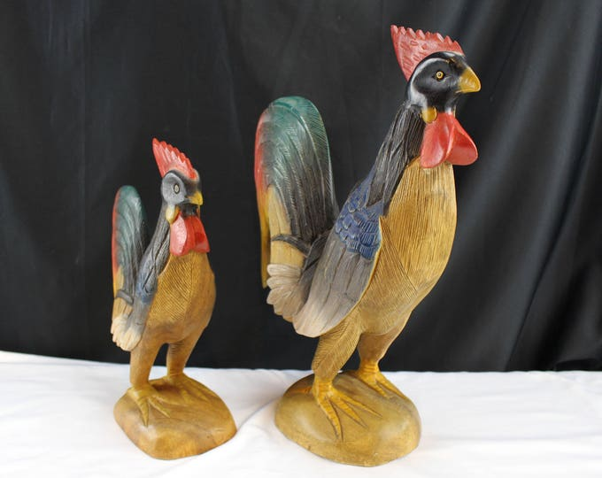 Solid One Piece Wooden Rooster Figurines Country Decor Chickens