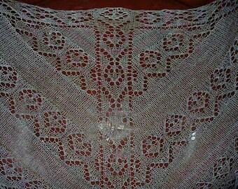 Lace scarf, warm wrap, triangular shawl, handknitted, wool, long printed, multicoloured.