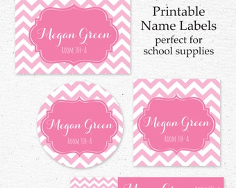 Back to School Name Label Set | Printable | Personalized Name Labels for School Supplies | School Supply Labels | Pink Chevron