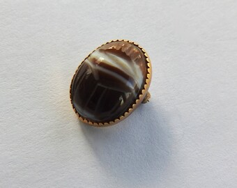 Vintage Carved Banded Agate Scarab Pin