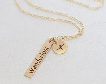 Wanderlust Necklace - Inspirational Jewelry - Graduation Gift for her - High School, College Graduation - Travel Necklace - Adventure Awaits