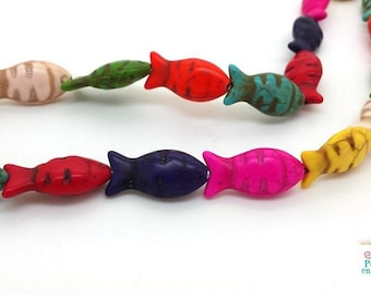 8 mixed colours 12x34mm (PH219) Howlite fish beads