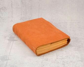 Orange leather journal sketchbook, unique notebook A6, travel journal, writing journal with orange paper