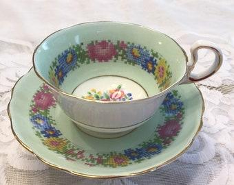 Rare Radfords Needlepoint Tea Cup and Saucer