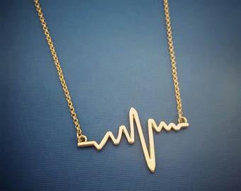 Gold or Silver Heartbeat Necklace, Pulse Necklace, Cardiogram Necklace, Nurse Necklace, Doctor Necklace, Lifeline, Pulse, ECG, EKG, Layered