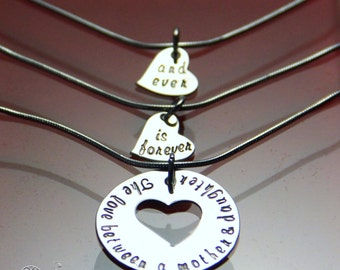 Mother Daughter Necklace Set -Hand Stamped Mother Daughter Necklace Set of Three-The Love Between Mother and Daughter is Forever and Ever
