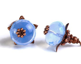 Sky blue crystal glass oval antique copper leverback earrings Ready to ship (387)