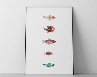 Fish Print - Colorful Fish Print - Scandi Style Print - Digital Print - Print Ready!