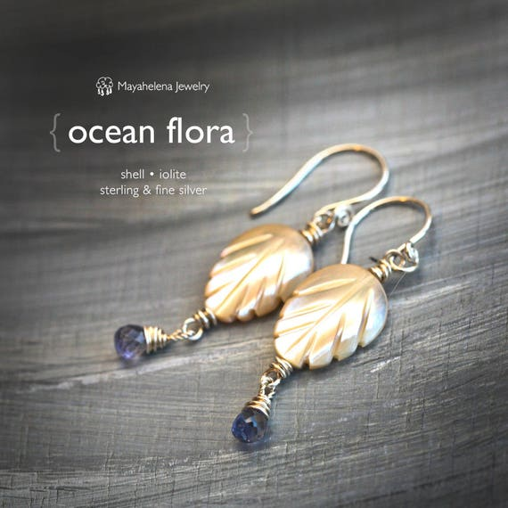 Ocean Flora - Carved Shell and Iolite Dangle Sterling Silver Earrings