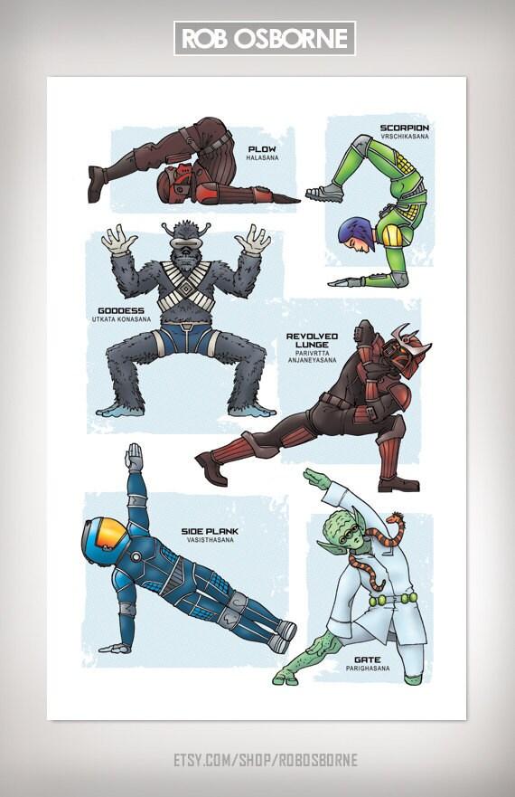 Sci-Fi GALAXY YOGA Super Pop Art Print 11x17 by Rob Osborne