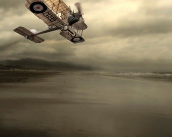 A Brush with Light  - 8 x 10 Stormy Seascape and Vintage Airplane - Surreal Nature Photographic Construction - Limited Edition Print
