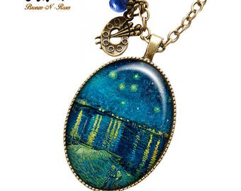 Necklace Vincent Van Gogh Painting starry night cabochon painting jewelry gift