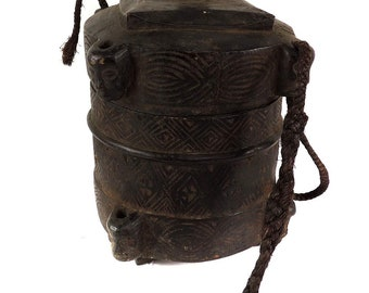 Kuba Box Carved Lidded Geometric Patterns African Art 120849
