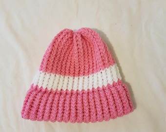 Pink and White Knitted hat