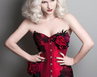 Bespoke steel boned corset decorated in your choice of lace, beading and silk flowers
