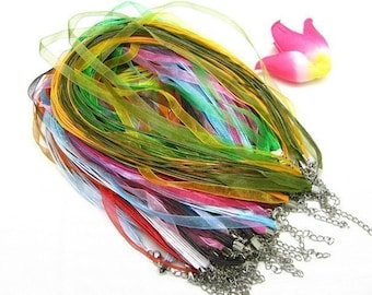 high quality promotion sale wholesale 50pcs assorted(34 colors for your choose) YOU PICK COLORS organza ribbon necklace cords/lobster clasps