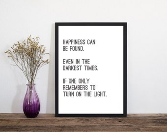 Happiness Can Be Found, Wall Art, Art Print, Typography Print, Letterpress Print, Scandinavian Art, Minimalist Print