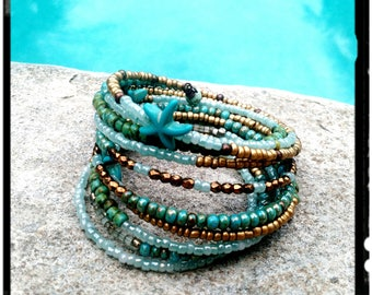 Turqioise Starfish - Beaded Layer Bracelet- 10 Layers//Memory Wire Wrap//Coil Bracelet//Seed Beads - Gold/Bronze/Aqua - Beach Bohemian