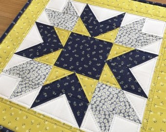 Yellow table topper, quilted table topper, yellow table runner, navy blue table topper, quilted table mat, table centrepiece, wall hanging