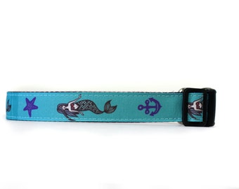 1 Inch Wide Dog Collar with Adjustable Buckle or Martingale in Mermaids an Exclusive Design