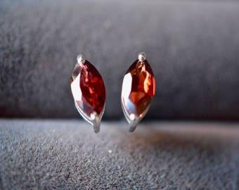 Garnet Earrings, Garnet Jewelry, Marquise Stud Earrings, Handmade Sterling Silver, Silver Garnet Studs, Garnet Post Earrings, Gifts for Her
