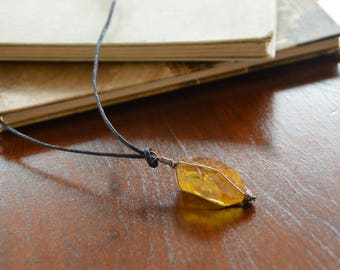 Yellow Dyed Quartz Necklace