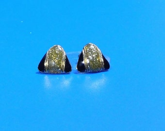 Vintage Gold and Black Triangle Post Earrings