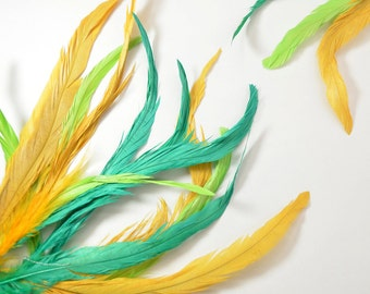 """25-30pcs Rooster Tail Feathers-Tropical Colors 7-8"""" tall"""
