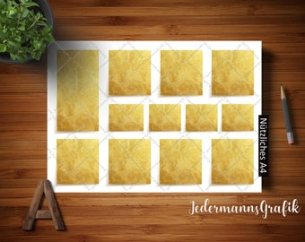 To do list download, for a Bilderrrahmen A4 and A3, gold colors in 2 sizes-permanent Todo picture
