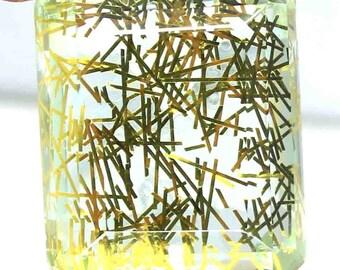 118.66 Ct Certified Brazilian Emerald Shape Beautiful Yellow Rutilated Quartz Loose Gemstone AO1617