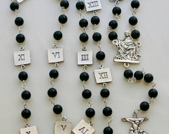 Black Onyx Stations of the Cross Chaplet